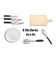 kitchen utensils top view realistic set with vector image