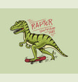 label for skateboarding skater dinosaur vector image vector image