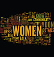 learn how women communicate text background word vector image vector image
