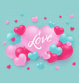 love text design with sign on big pink heart vector image