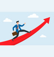 man stand on huge rising arrow show direction vector image