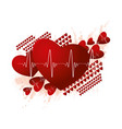 medicine and cardio concept with red hearts vector image
