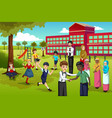 multi ethnic and diverse students playing in vector image