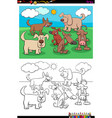 playful dogs animal characters group color book vector image vector image