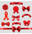 red ribbon bow set transparent background vector image vector image