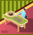 rich man in casino isometric background vector image vector image