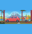 road trip vacation travellers family in car with vector image