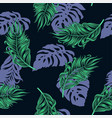seamless pattern with tropical palm and monstera vector image vector image