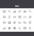 set 24 seo and development web icons in line vector image