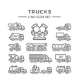 Set line icons of trucks vector image vector image