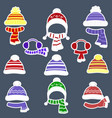 set of nine different stickers of hats and scarves vector image