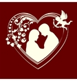 Silhouette hearts and couple in love vector image vector image