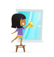 smilind girl washing window concept of montessori vector image vector image