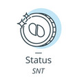 status cryptocurrency coin line icon of virtual vector image vector image
