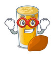 super hero lassi mango in a cartoon bottle vector image vector image