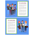 teamwork informative banners set with sample text vector image vector image
