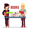 teenager girl reading books - self-education vector image vector image