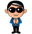 thai man is greeting in called sawasdee vector image