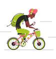 travel cyclist cartoon man cycling forward vector image