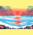 tropical background with palm trees and sunset vector image
