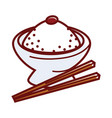 umeboshi rice in big bowl with wooden chopsticks vector image