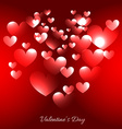 valentine day hearts in red background vector image vector image
