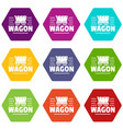 wagon icons set 9 vector image vector image