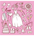wedding fashion bride dress doodle style vector image vector image