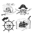 Labels pirate theme hand drawing vector image