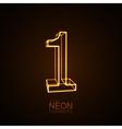 Neon 3D number 1 vector image