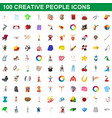 100 creative people icons set cartoon style vector image vector image