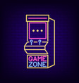 arcade game machine neon sign game zone night vector image vector image