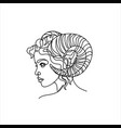 aries zodiac sign woman face with horns linear vector image
