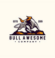 awesome angry bull logo design vector image vector image