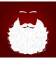 beard santa red background vector image vector image