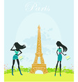 beautiful fasihon girls silhouettes Shopping in vector image vector image