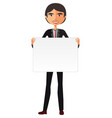 business asian man holding white blank vector image