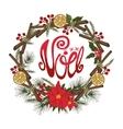Christmasnoel greeting cardFlower fircitrus vector image vector image