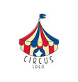 circus logo emblem with marquee for amusement vector image vector image