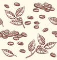 coffee beans and leaves espresso cappuccino vector image vector image