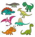 colorful cartoon isolated dinosaur mascots vector image vector image
