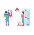 contactless food delivery concept scene vector image
