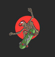 cool skeleton playing skateboard extreme vector image vector image