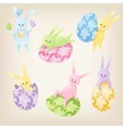 Cute Easter Bunnies vector image vector image
