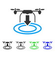 Drone landing flat icon vector image