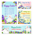 easter egg and rabbit greeting banner template vector image vector image