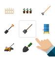 flat icon farm set of trowel shovel flowerpot vector image vector image