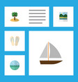 flat icon summer set of beach sandals coconut vector image vector image