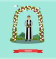 flat priest under wedding vector image vector image