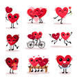 flat set of cute humanized hearts in vector image vector image